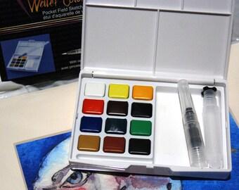 Watercolor paints, Travel Paint Kit, Pocket sized, Travel painting set, 12 pan set,