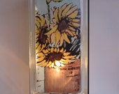 Sunflower night light glass block lamp  upcycled handmade  FREE SHIPPING  Kansas gift floral lamp sunflower art eco-friendly lamp foyer lamp