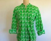 70s cotton ELEPHANT PRINT novelty shirt size medium