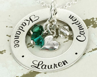 """Personalized Necklace - Mother Necklace - 1"""" personalized loop necklace with sideways heart charm and up to 5 birthstone crystals"""