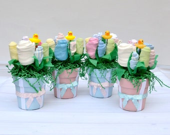Baby Shower Centerpieces Set of 4 for Twins, Baby Boy & Girl Shower Decorations made of Layette items