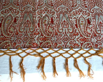 Vintage Damask Paisley Mirrored Scarf - Reversible 47 x 86 Woven Silver and Red Textile