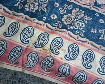 Antique Paisley Floral Tablecloth Repurpose Fabric - Distressed Textile in Pink and Blue