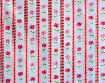 Vintage Bed Sheet - Pink Flower Stripe - Cannon Full Fitted