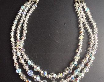 vintage aurora borealis crystal  multi strand necklace