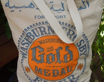 Vintage cotton flour sack tote - Old fashioned flour sack - Flour bag - Repurposed flour sack - Recycled wheat bag - Washburn's gold medal