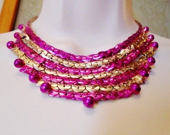 Vintage Fuchsia Gold  Hand Painted Necklace Choker Bib Mothers Day Grad Retro Sirpentine