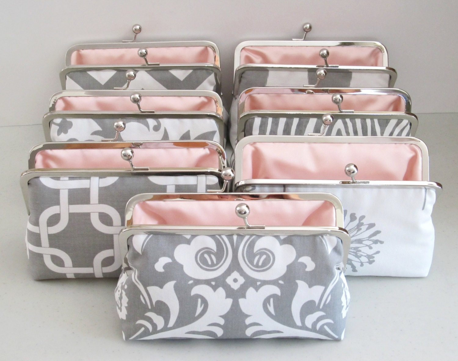 SALE 20% OFF 7 Premier Print Bridesmaid Clutches,Grey And White Custom Clutches,Bridal Accessories,Bridesmaid Gifts