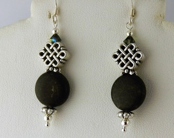 Irish Kilkenny Black Marble Celtic Knot earrings with Swarovski crystals