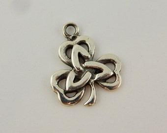 Sterling Silver Irish Shamrock Charm with Celtic Trinity Knot