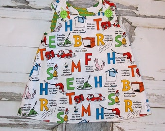 Dr Seuss Green Eggs & Ham Sam I Am Aline Dress Sz 2T 3T 4T 5 6 7 8 10 Birthday Party School Universal Studios Alphabet Made in USA