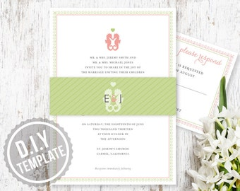 DIY Kissing Sea Horses Custom Wedding Invitation with Response Care and Belly Band - Printable PDF