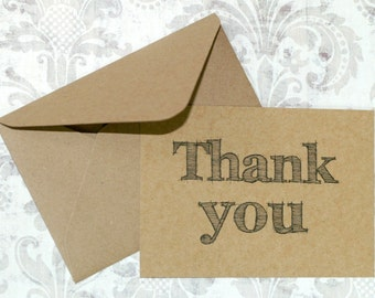 Thank You Notes (10) ... Kraft Cards Kraft Envelopes Rustic Cards Weddings Blank Cards Chipboard Cards Printed Cards Hand Drawn Font
