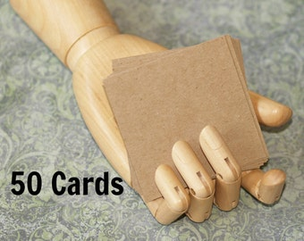 """Kraft Cards 3"""" Square (50) ... Lightweight Chipboard .022"""" Thick Smooth Recycled Cardstock Blank Cards Craft Supplies Art Supplies"""