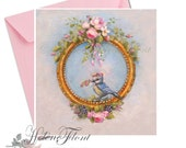 Nursery,  birth announcement card , antique rose, frame , rose crown baby Blue Tit - Print - based on an oil painting  Atelier  Flont design