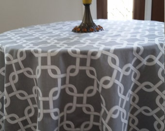 Round tablecloth grey and white fabric, gotcha chain link