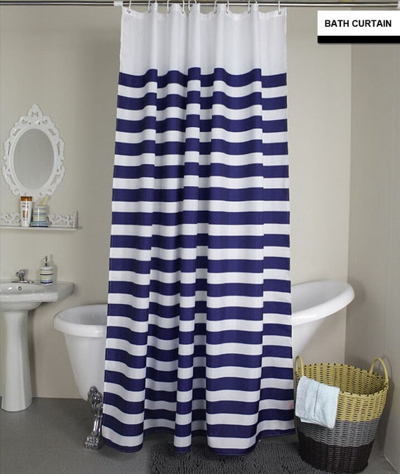 Two Tone Shower Curtain Navy Blue Stripe And By Kirtamdesigns