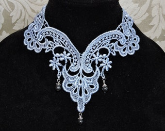 Choker Collar in Venise Blue Lace Triple Bead Drop Victorian Modern Country Style Scalloped Edging  by Medievaltomodern