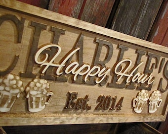 Personalized Bar Signs personalized wedding gift 3D Wood Sign Custom Bar beer tap Sign Gifts for him her Groomsmen Gift lovejoystore pub bar