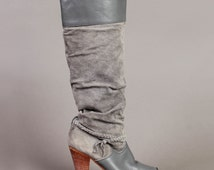 vintage KNEE HIGH suede SLOUCH leather braided wood heel boot shoe boho grey 1980s 80s 5.5