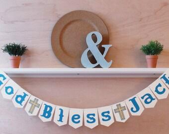 God Bless Banner - Custom Name Baptism Sign - Custom Colors - Baptism Photo Prop