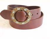 Vintage Brown Leather Belt  size large