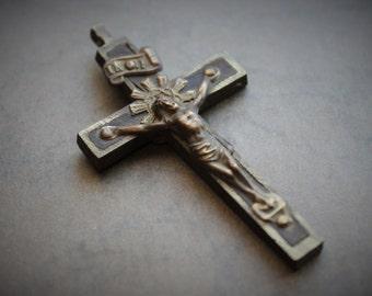 19th Century Handmade Pectoral Crucifix / 1800s Catholic Religious Relic Cross