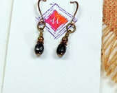 Reserve Liz, Every Day Earrings, Gifts under 20, Black Glass, Gift for Her, Dangle Earrings csse10