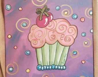 Cherry Pop Cupcake Painting
