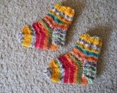 Socks - Handknitted Baby Socks for up to 12 Month in a Mix of Red - Orange - Green - Grey - Selfstriping
