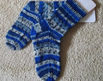 Socks - Handknitted Socks for Women or Boys - Colors Mixed Blue, Brown and Grey Selfstriping - Size Medium 5.5-6 US