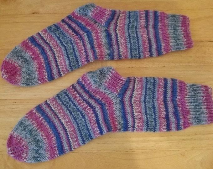 Socks - Handknitted Socks - Colors Mixed Selfstriping - Unisex Size Medium 4-6 US