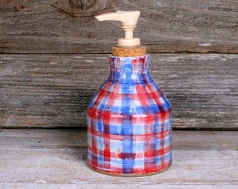Soap Dispenser. Oil Lamp. Oil Diffuser. Plaid Pottery Vase. Handmade Ceramic Pottery. Americana. Primitive Pottery