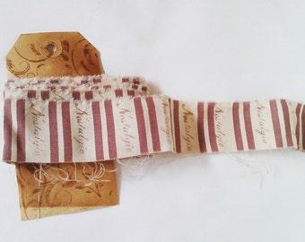 Vintage French Striped Ribbon. HandmadeText Ribbon. Shabby Chic Ribbon/Trim. Handmade Ribbon. Stamped Ribbon. Fabric Ribbon. Vintage Ribbon.