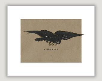 The Raven, Nevermore, Edgar Allan Poe, raven wall art, raven print, macabre art, goth art, Halloween art, macabre decor goth decor, dark art