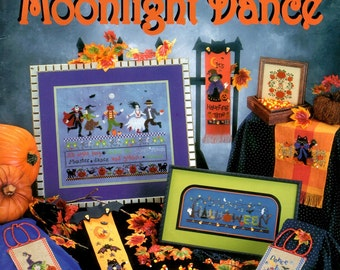 Moonlight Dance Vampire Witch Ghost Cat Bat Moon Jack O Lantern Halloween Thanksgiving Counted Cross Stitch Embroidery Craft Pattern Leaflet