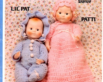 Darice Lil Pat and Patti Porcelain Look New Born Doll Crochet Infant Outfits Dress Suit Bonnet Ruffles Scallops Craft Pattern Leaflet CD-11