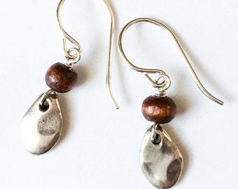 Wood + sterling silver earrings