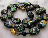 Vintage Rainbow Foil Glass Beaded Necklace