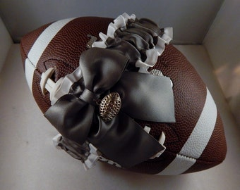 Football Toss Garter Pewter Gray Bow White Satin Football Charm Wedding Accessories Football Band ( Football not included)