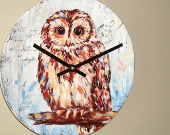 NEW! Tawny Owl Wall Clock 9 Inches SILENT, Animal Decor, Bird Clock, Cute Owl Clock, Child Bedroom Clock, Nursery Decor Clock for Cabin 2224