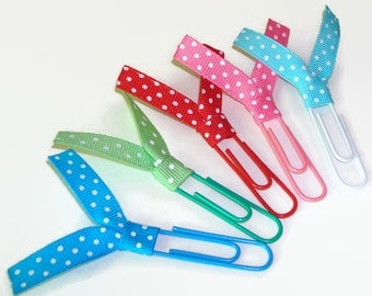 Multi Color Polka Dot Ribbon Paperclips - Desk Accessories - Planner Clips - Office Accessories - Ribbon Paperclip Bookmark - PC030