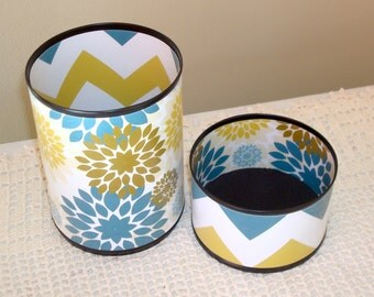 Chevron and Floral Desk Accessory Set in Steely Gray Blue and Gold Pencil Holder Pencil Cup Office Organization Office Desk Office Decor 680