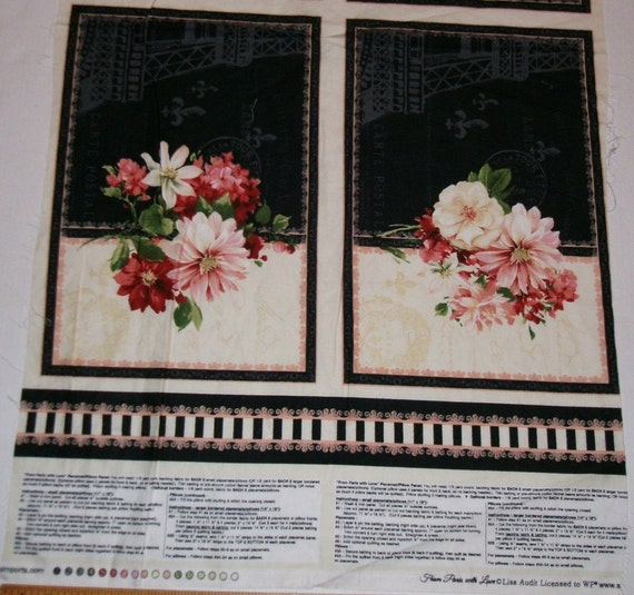 Reduced 20 Fabric Quilt Panel Paris Eiffel Tower Pink