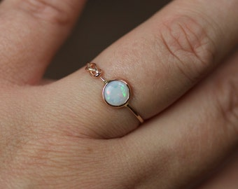 Natural AAA Opal Infinity Knot Ring - Solid 14k Rose or Yellow Gold Stack Ring with a Genuine Fiery White Opal - October Birthstone Ring