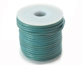 Leather Cord 2mm, 10 Meters,   Leather   Necklace Cord, Turquoise Leather-JC21