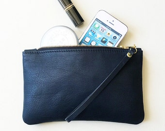 Navy Blue Leather Zipper Wristlet, Everyday Leather Clutch, Zipper Pouch, Zipper Wallet, Cell Phone Pouch