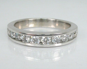 Vintage Diamond Wedding Band - 0.70 Carats Diamond Total Weight - Chanel Set - Appraisal Included