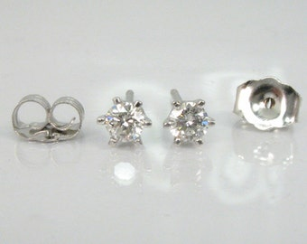 Diamond Ear Studs - 0.22 Carats Total Weight - 14K White Gold