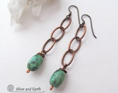 On SALE - Copper Chain Earrings with African Turquoise, Lightweight Earrings, Stone Dangle, Earthy Rustic Boho Jewelry, Sale Jewelry
